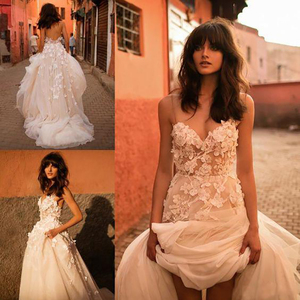 Image 3 - LORIE Princess Wedding Dress Sweetheart Appliqued with Flowers A Line Tulle Backless Boho Wedding Gown Free Shipping Bride Dress