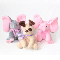 Peek A Boo Lovely Stuffed Electric Elephant Animals Plush Dog Doll Play Music Hide And Seek