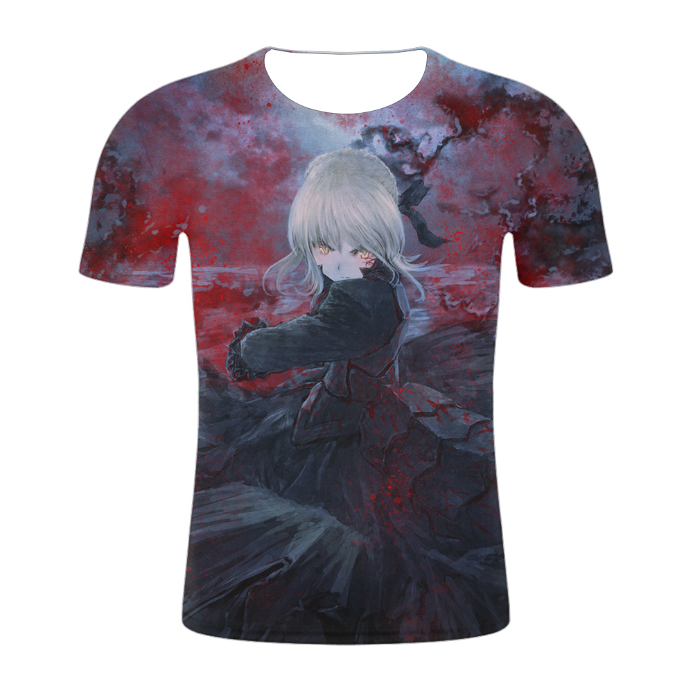 Fashion Men Sweatshirt 3D Print Anime Fate Stay Night Short Sleeve T Shirt Unisex Casual Pullover Casual Tops 2019 in T Shirts from Men 39 s Clothing