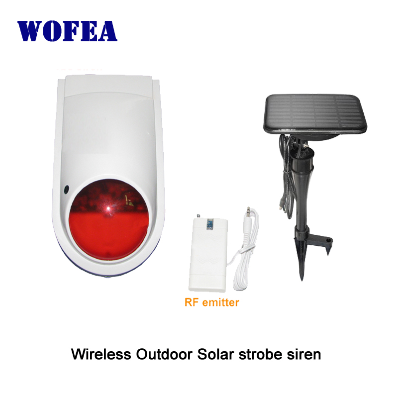 wofea wireless outdoor strobe siren solar power supply 1200mA back up battery free shipping