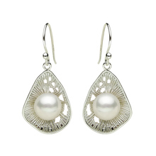 925 silver real natural big 925 Sterling Silver elegant classical temperament, natural pearl earrings, jewelry, women's jewelry,
