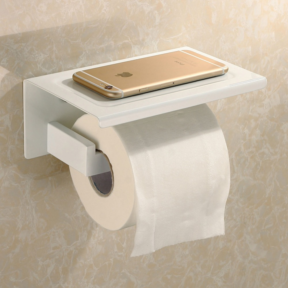 sus stainless steel toilet paper tissue holder paper roll with  - sus stainless steel toilet paper tissue holder paper roll with mobilephone stand storage shelf bathroom accessoriesin paper holders from home