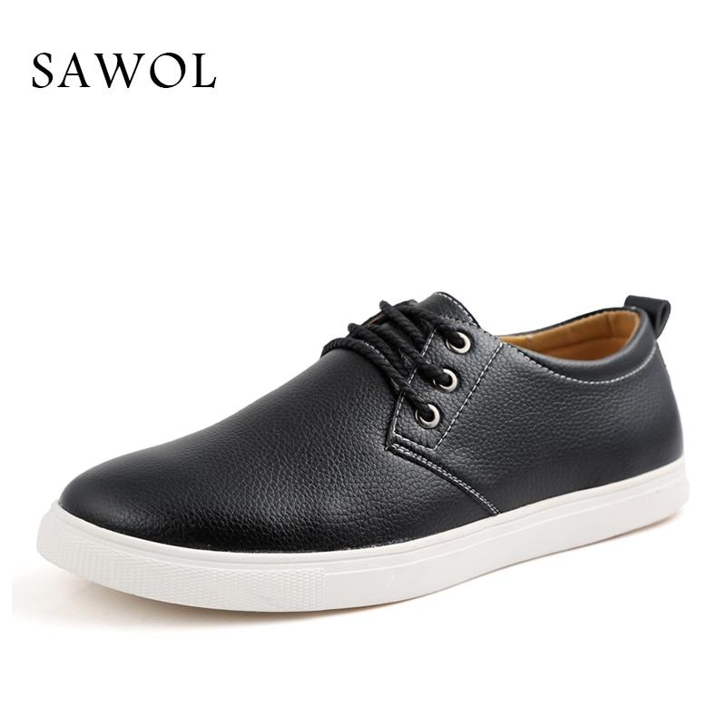 Sawol Brand Men Shoes Men Casual Shoes Flats Slip On Men Sneakers Genuine Split Leather Plus Big Size