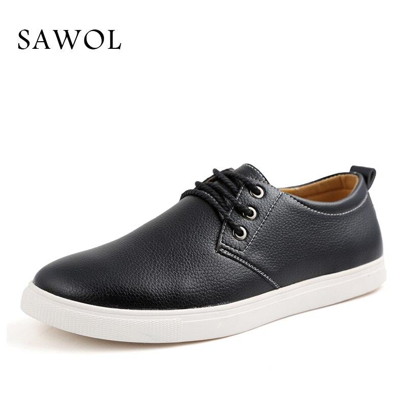 Grande Black Véritable Sneakers Sur Marque yellow En Cuir Sawol Les Hommes Appartements Glissent Occasionnels blue Split Plus Taille Chaussures 6xzRaq