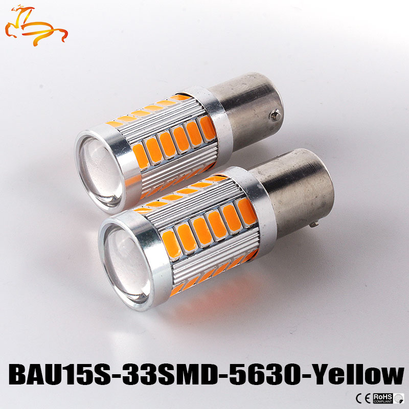 10pcs 1156 BAU15S <font><b>PY21W</b></font> 150 Degree 33 SMD 5630 1056 <font><b>Orange</b></font> Red CAR <font><b>LED</b></font> Parking Lamp Brake Turn Signal Light DC 12V 33-SMD 5630 image