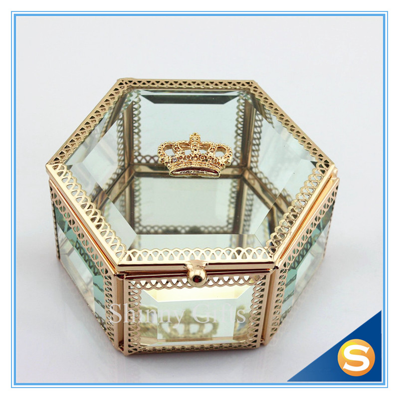 Wedding Gift Box Glass Jewelry Box Crystal Gift Box Jewelry Box with Crown Free Shipping