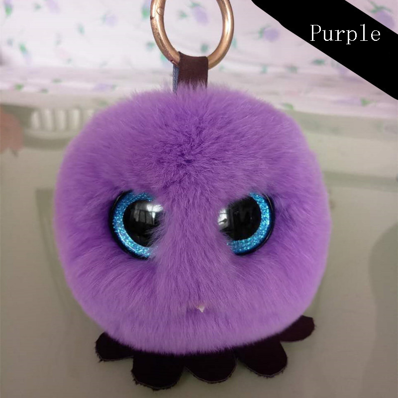 Cute chick Rabbit Fur Pom Pom Key Chain Ring Woman Real Rabbit Fur Owl Bag Charms Keychain Man Car Keyring Jewelry Girls Gift in Key Chains from Jewelry Accessories