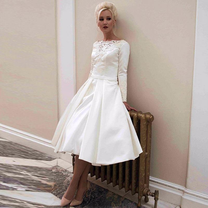 Popular Long Sleeve Short Wedding Dress Plus SizeBuy Cheap Long