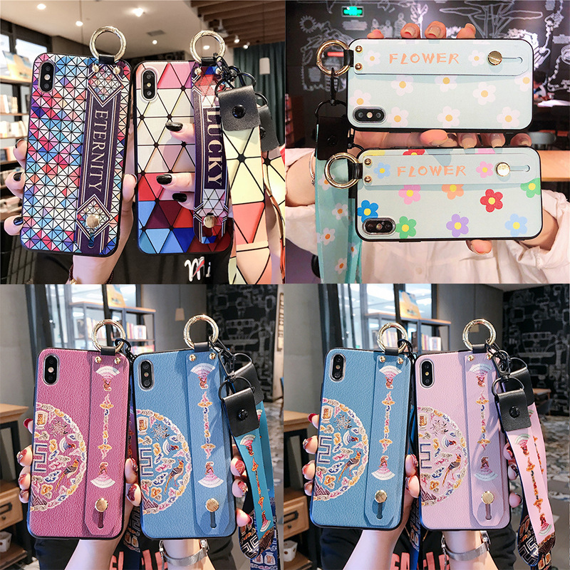 Camouflage. Geometric wristband lanyard phone case for iPhone X XS XR XSMax 8 7 6 6S PluS Palace flower drop protection cover