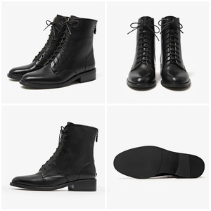 Image 5 - BeauToday Ankle Boots Women Calfskin Genuine Leather Round Toe Lace Up Back Zipper Winter Lady Fashion Shoes Handmade 02202