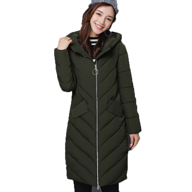 AISHGWBSJ Long Coats Hooded Winter Overcoat 2017 New Winter Jackets For Women's Cotton Female Padded Parkas Plus Size Coat PL152 apoeng women cotton padded jackets with gloves 2017 new winter coats candy color long parkas plus size hooded coat 5xl 6xl lz456
