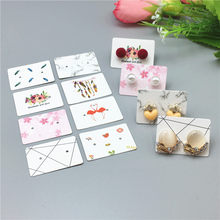 Various 100pcs 3.5x2.5cm Exquisite Simple Style Stud Earring Packing Hang Tag Flamingo/Line/Flower Pattern Jewelry Packing Card(China)
