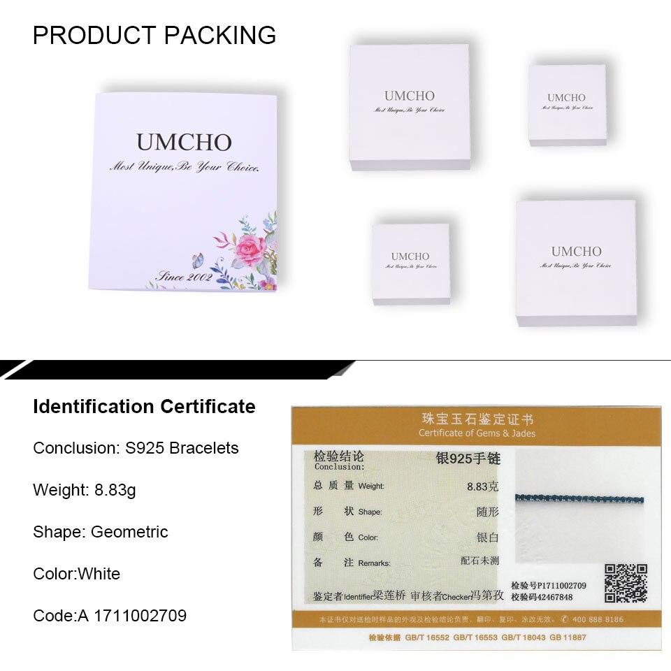UMCHO Luxury Creado Nano pulsera de zafiro azul Real 925 pulseras y - Joyas - foto 6