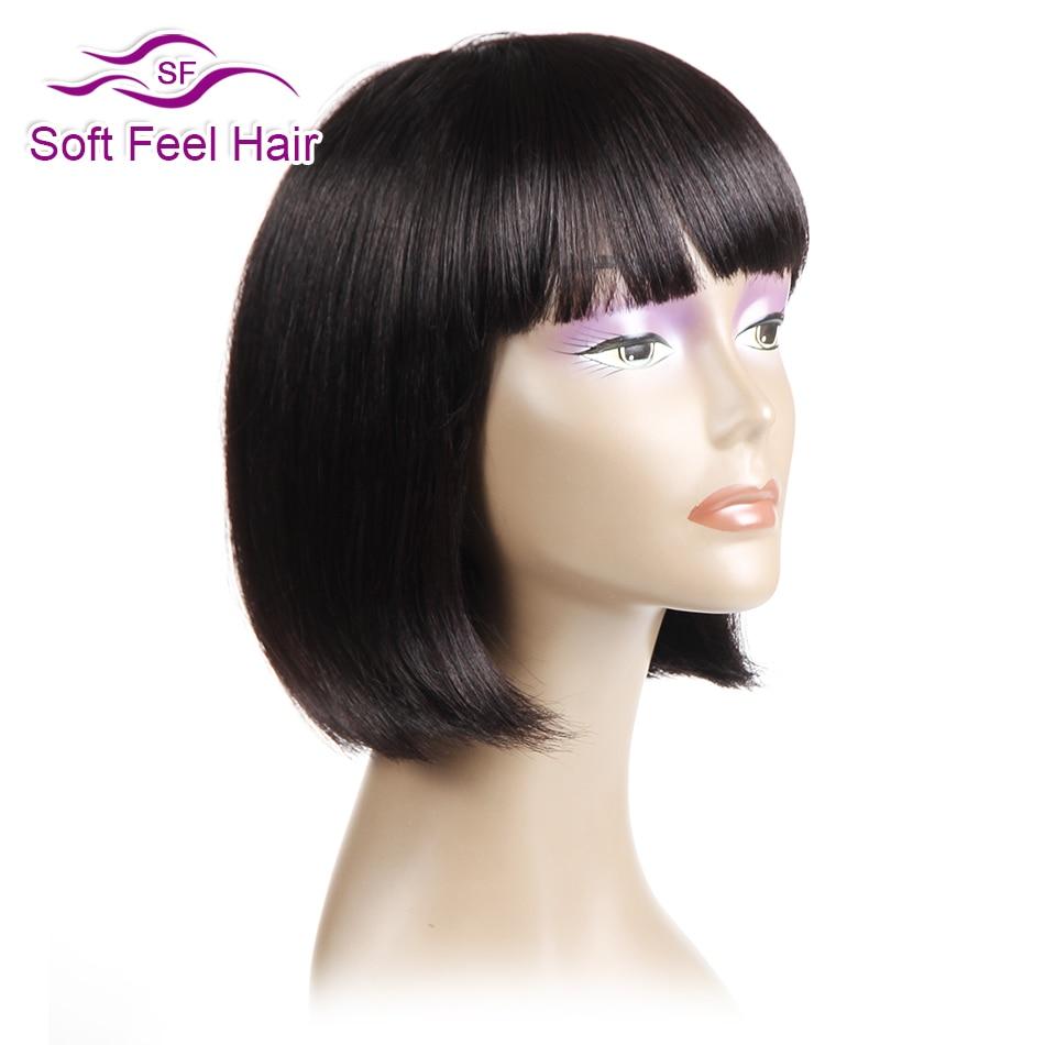 Soft Feel Hair Brazilian Straight Bob Wig With Bang Black Short Human Hair Wigs For Women