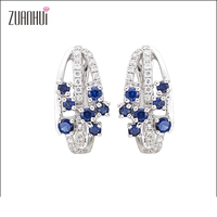 Christmas Wholesale style 14K gold jewelry flowers blossom blue sapphire and diamond clip earrings