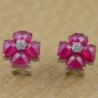 Red corundum S925 earrings silver inlaid gems plating female buckle ear heart modeling