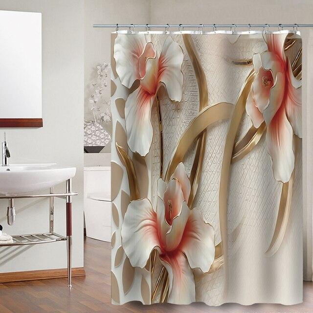FOKUSENT Stampati di Alta Qualità di Lusso Orchidea Peonia Fiore Del Dente di Leone Tessuto In Poliestere Impermeabile Bagno Doccia Tende