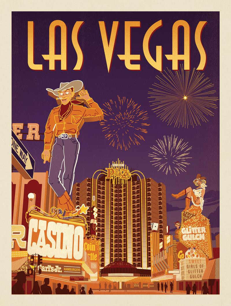 Vegas Vacation Poster: City Of Angels Las Vegas America Pop Travel Poster Vintage