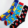 High Quality Socks Color Point Pokemon ball Men Women Long Fashion Cotton Socks Happy Pikachu Jacquard Cartoon Men's
