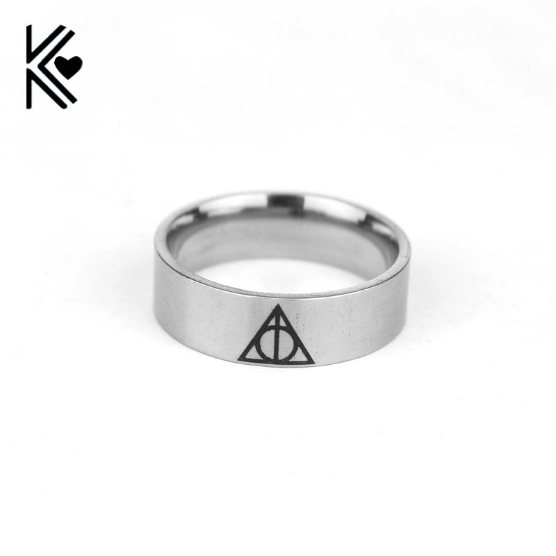 Movie Jewelry Always Stainless Steel Band Ring Triangle Horcrux Ring Fashion Gift For Magic Movie Fans