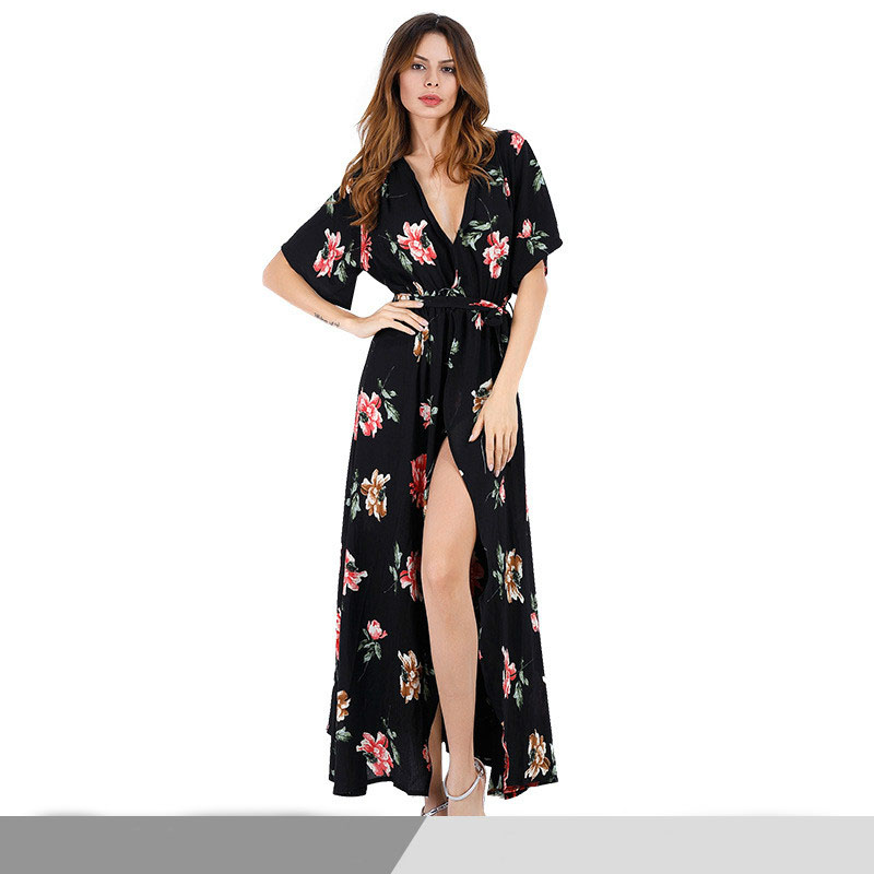 Womens Dress Ladies V-neck European and American Models Real Shot Floral Beach Sexy Summer New Explosion