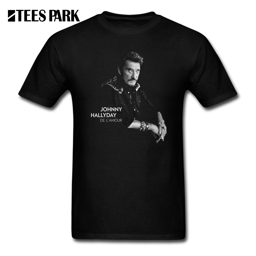 T Shirts for Men Johnny Hallyday Cool Tee Shirts France Mucisian O-Neck Short Sleeve T-Shirt Teenage Vintage 100% Cotton виниловая пластинка johnny hallyday johnny hallyday le coeur d'un homme 2lp picture vinyl