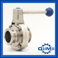 1 5 SS304 Sanitary Clamp Butterfly Valve For Food Industry Stainless Steel Butterfly Valve SS 304