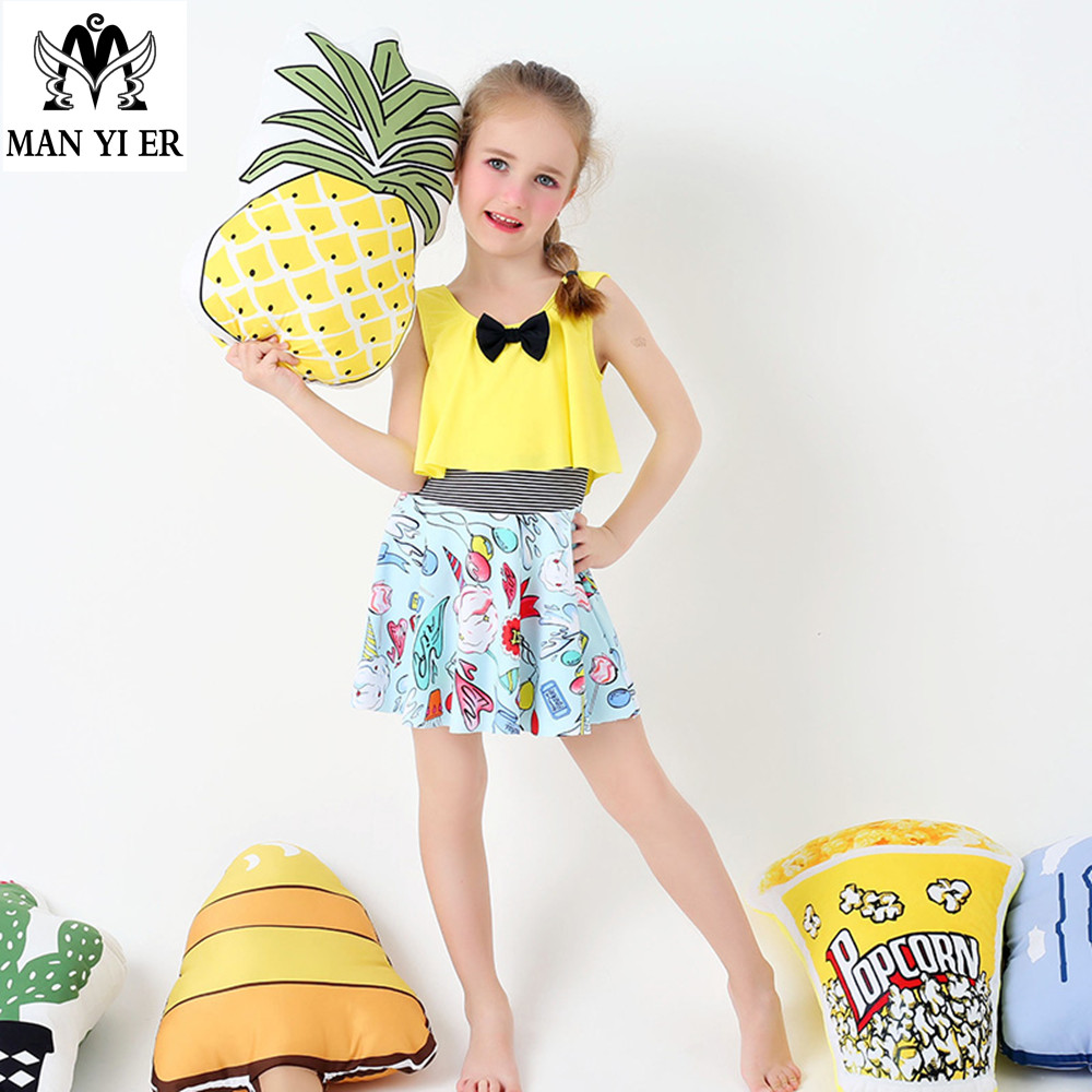 2017 New arrive  Lovely Nice Fresh Swimsuit Baby Girl Floral Bathsuit yellow  blue Color  Beachwear freeshipping for 6-13Y girl комплект аксессуаров для волос lovely floral