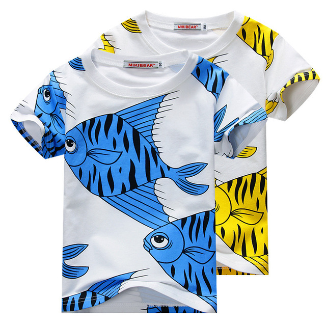 2016 summer  blue yellow fish printed cotton girls boys short sleeved t shirts boys girls clothing vetement enfant KIDS TOPS