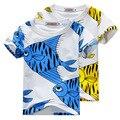 2016 verano azul amarillo fish impreso algodón niñas niños manga corta camisetas niños niñas ropa vetement enfant NIÑOS TOPS