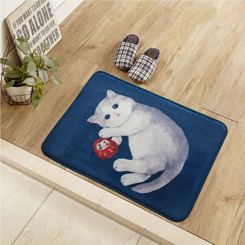 MxiangM Hot Cartoon Cat Slippery Trolley Card LivingRoom Entrance Hall Bathroom Carpet Stairs Mats Material 100% Polyester
