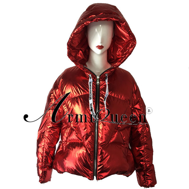 57ac97e92 US $159.2 20% OFF|Duck Down Winter Female Coat Women Puffer Coats Short  Casual Loose Tops Thickening Warm Wadded Hooded Outerwear Red Coats-in  Parkas ...