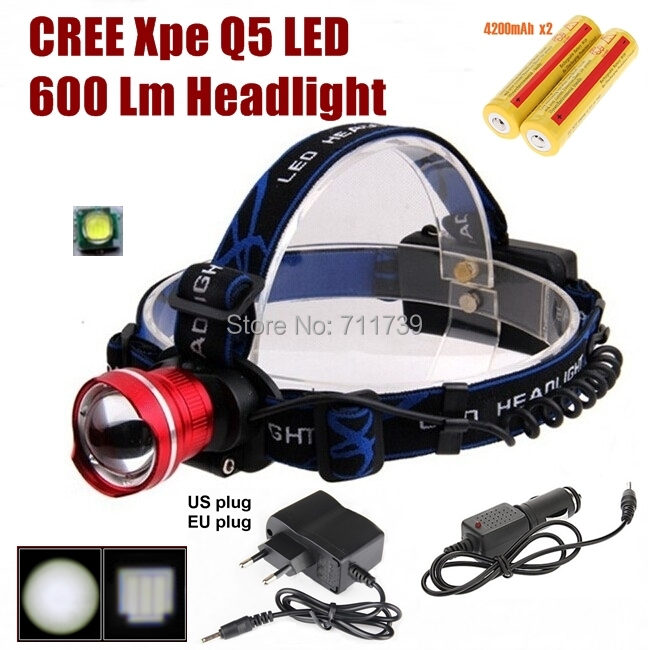 AloneFire HP87 cree led Headlight Cree XP-E Q5 LED 600LM cree led Headlamp light+AC Charger/Car charger/2x4200mAh 18650 battery 9006 11w 600lm white led car foglight headlamp w 1 cree xp e 4 cob dc 12 24v
