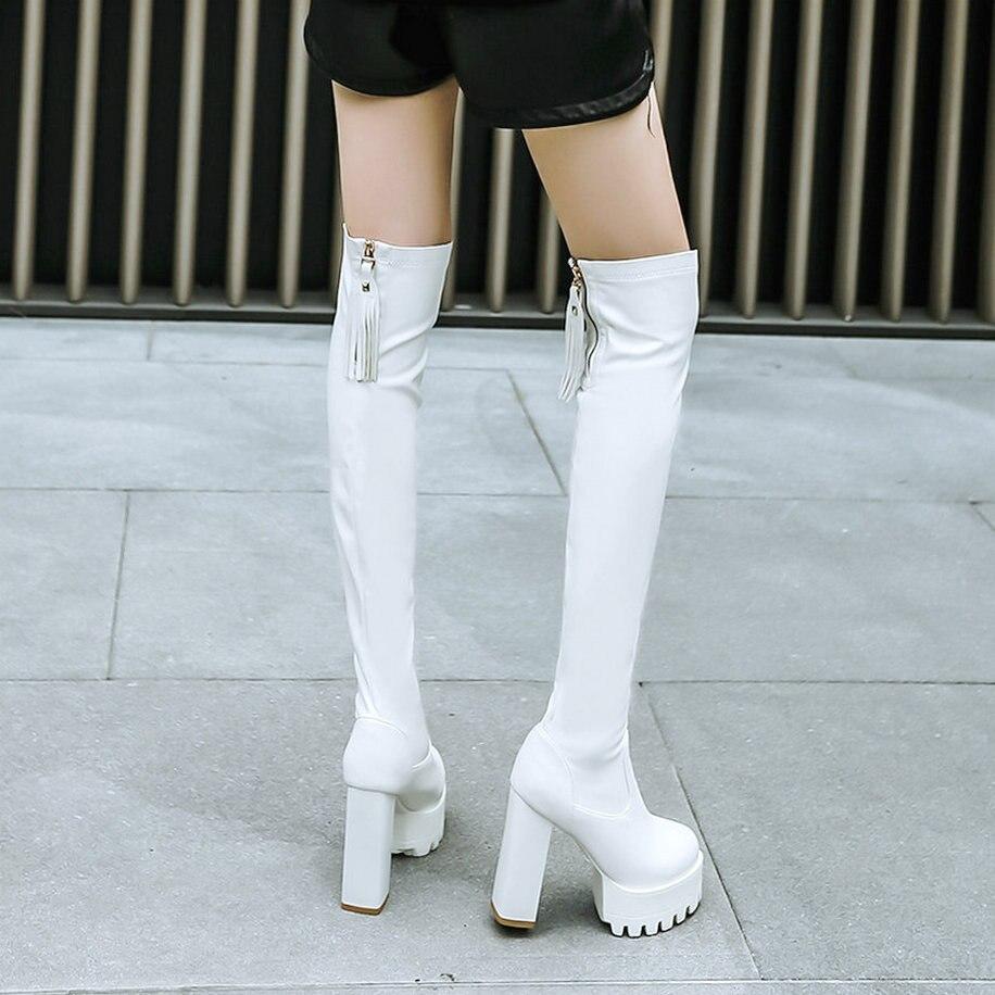 Femmes Mode Du Cuisse Dessus Blanc blanc Noir Épaisses Plate forme Hiver Noir Talon Glissière Chaussures Automne Bottes 2018 Genou Gland Dames iOZkuPX