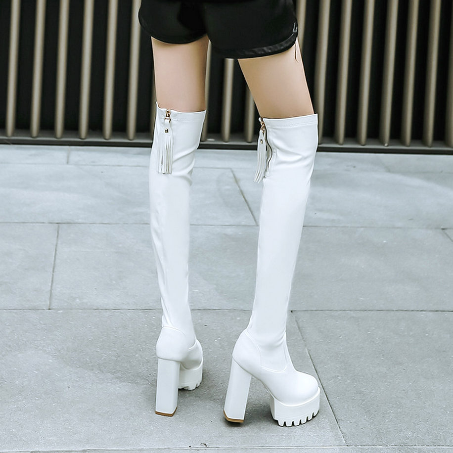Women Fashion Over the Knee Boots Thick High Heel Thigh Boots Platform Zipper Tassel Fall Winter Ladies Shoes Black White 2018 women fashion boots chunky high heel over the knee boots side zipper platform thigh boots black white