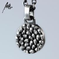 Ретро для мужчин s Череп Кулон Hipster Серебро 925 цепочки и ожерелья Doulbe Скелет Кулон Прохладный обувь для мальчиков девоче