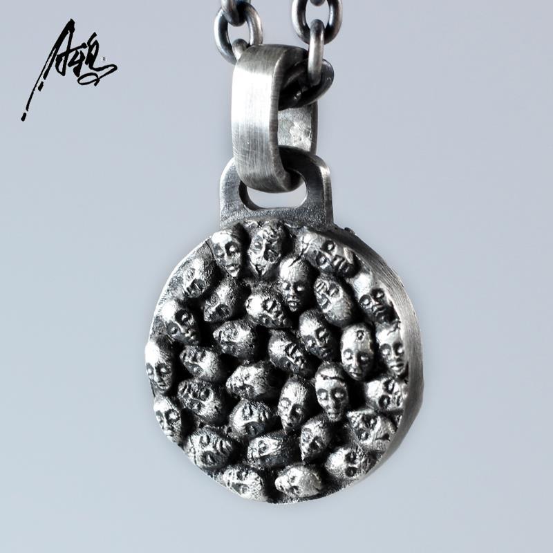 Rétro hommes crâne pendentif hommes Hipster 925 argent collier double squelette pendentif Cool garçons filles décor bijoux cadeau
