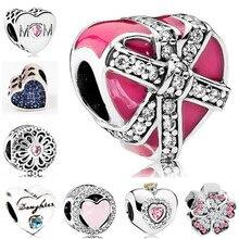 b5c0929c01ee Btuamb de lujo cristal amor corazón de árbol flor granos del encanto Fit  Pandora Charm pulseras y brazaletes de las mujeres joye.