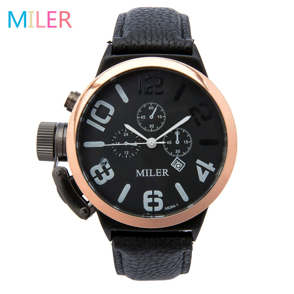 New MILER Fashion Men Watches Leather Strap Out-door Sports Watch Casual Quartz Male Wristwatches Relogio Masculino Montre Homme bamboo wood watches for men and women fashion casual leather strap wrist watch male relogio