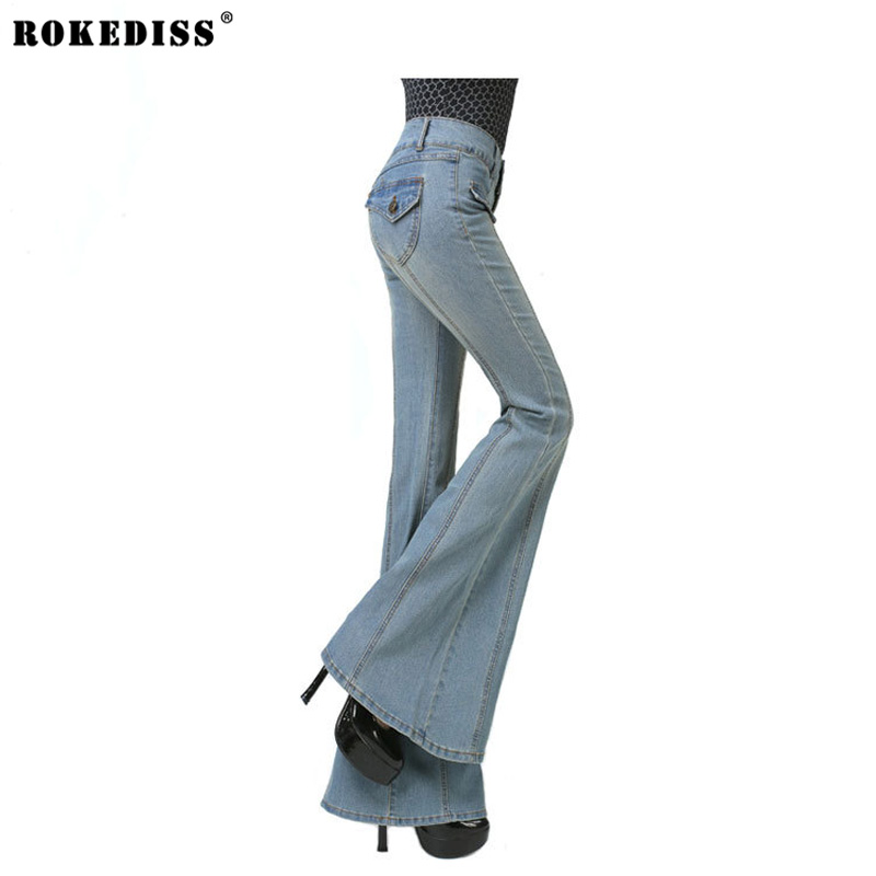 ROKEDISS 2017 Spring Autumn New Woman Jeans Bells Bottom Jeans Womens Flared In the waist Pants Leisure Ladies Jeans S118 the woman in the photo