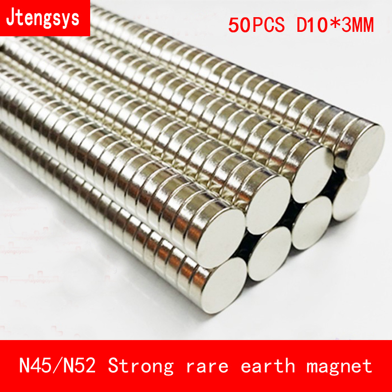 Jtengsys 50PCS 10mm x 3mm N45 N52 Strong Round Cylinder Magnets Rare Earth Neodymium diameter 10 3mm Art Craft Connection in Magnetic Materials from Home Improvement