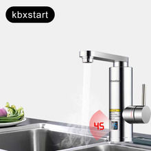220V Electric Water Heater Tap Instant Hot Water Faucet Heater Cold Heating Faucet Tankless Water Heater Temperature Display