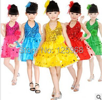Free Shipping Retail New 2014 Children Latin Dance Dress With Sequin Kids Stage Dancing Dress 5