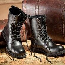 2016 Européenne Martin Bottes lacent Noir Cowboy Bottes hommes D'hiver chaussures mi-mollet botas Militaire Bottes Grande taille 45 46 47X092201