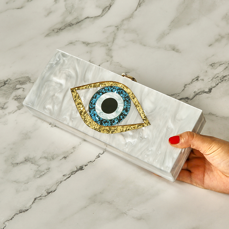 Eye Purse Handbags Clutch-Bag Eye-Bag Wallet Party Evil Ethnic Pearl Acrylic White 25x10cm