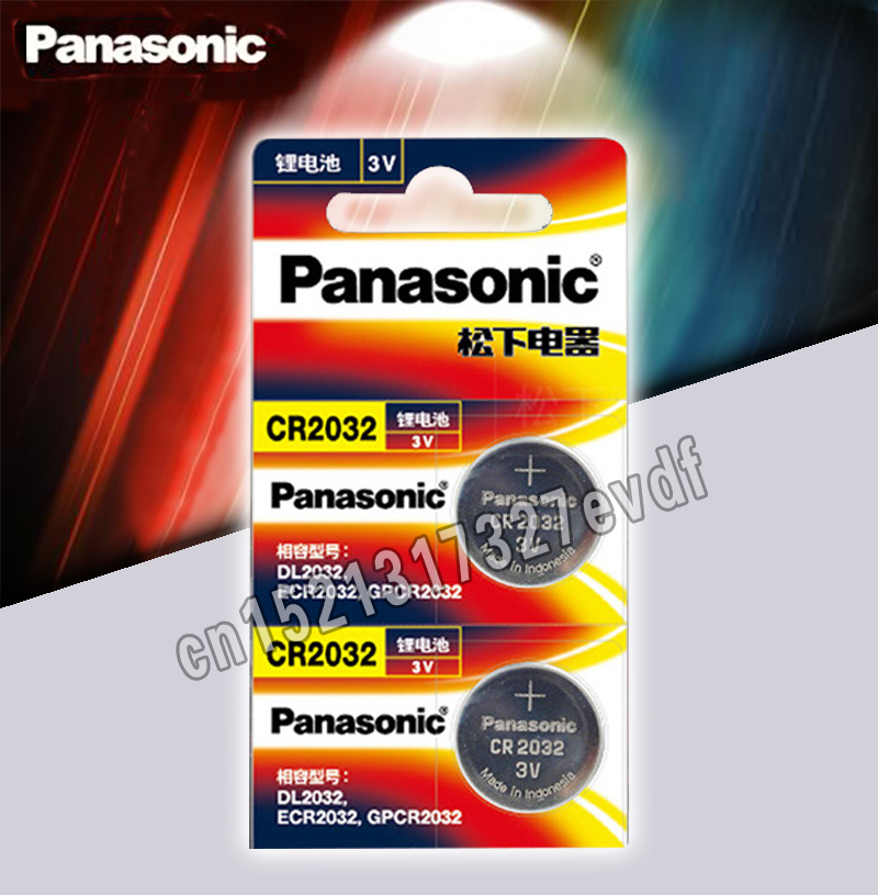 Panasonic Original 2pcs/lot Cr 2032 Button Cell Batteries 3V Coin Lithium Battery For Watch Remote Control Calculator Cr2032