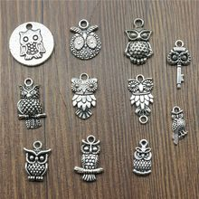 15pcs/lot Owl Charms Antique Silver Color Owl Charms Pendants For Bracelets Small Owl Charms Making Jewelry(China)