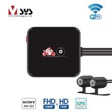 VSYS M6L Wi-Fi двухканального DVR для мотоциклетного регистратора Full HD 1080P + 720P спереди и сзади Вид двойной Водонепроницаемый мотоцикл Камера Регистраторы