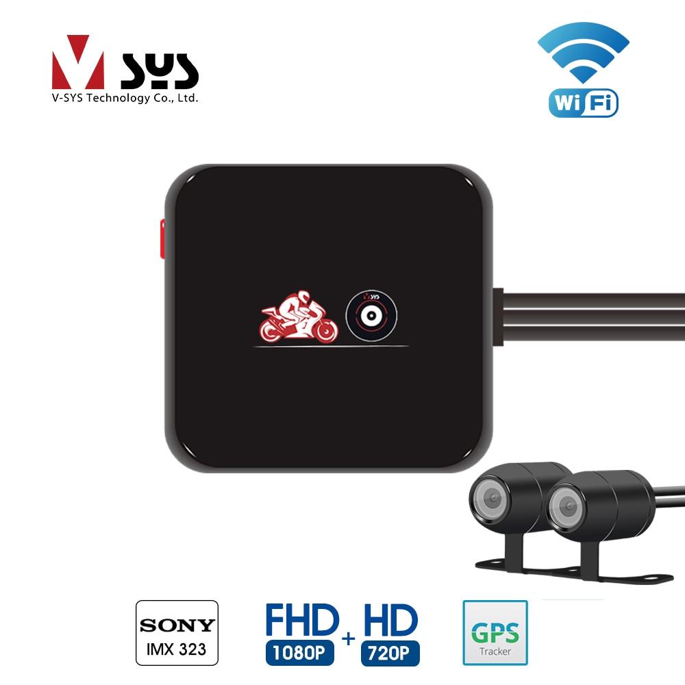 SYS VSYS M6L WiFi de la motocicleta DVR Dash Cam Full HD 1080 P HD + 720 P delantera y trasera vista impermeable motocicleta negro cámara grabadora caja