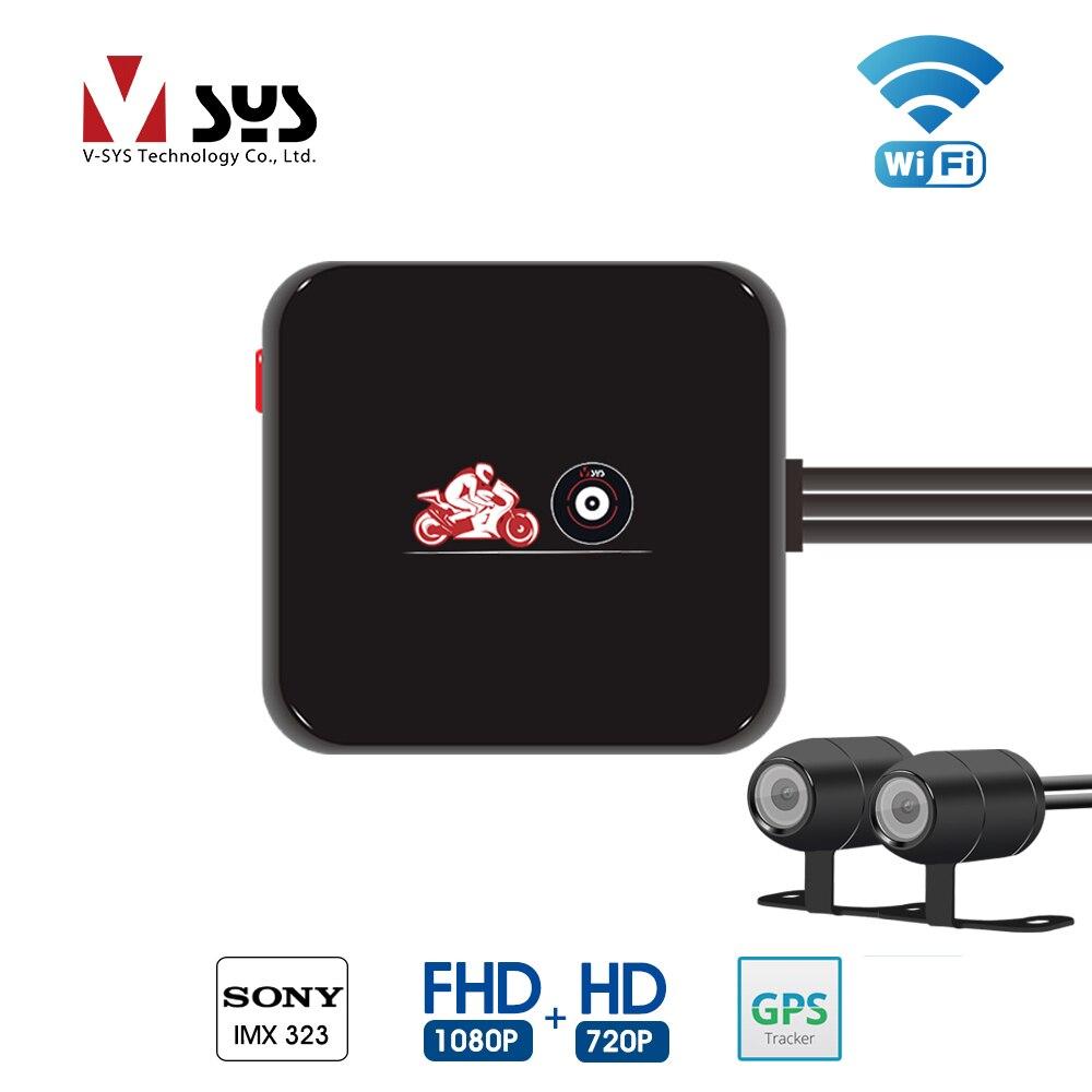 VSYS M6L Wi-Fi двухканального DVR для мотоциклетного регистратора Full HD 1080P + 720P спереди и сзади Вид двойной Водонепроницаемый мотоцикл Камера Регис...